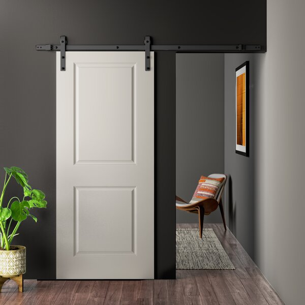 Calhome Paneled Manufactured Wood Primed Classic Barn Door With Installation Hardware Kit Reviews Wayfair