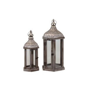 Wood Lantern with Pierced Metal Top Set of Two Natural Wood Finish