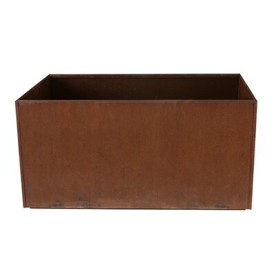 "17 Stories Elisabetta Corten Steel Planter Box Size: 20"" H X 46"" W X 20"" D, Casters: No"