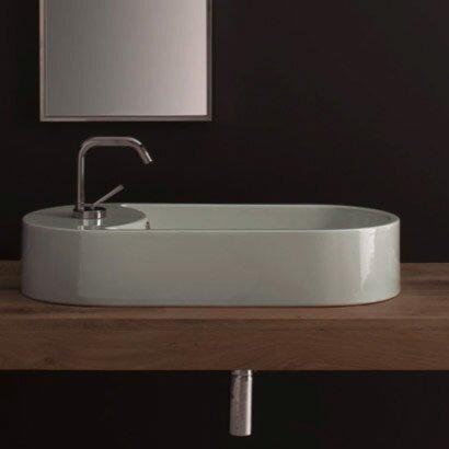 Scarabeo by Nameeks Seventy Ceramic Oval Vessel Bathroom Sink with Overflow