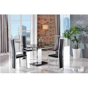 Chipping Sodbury Steel Glass Dining Set With 6 Elsa Chairs By Metro Lane