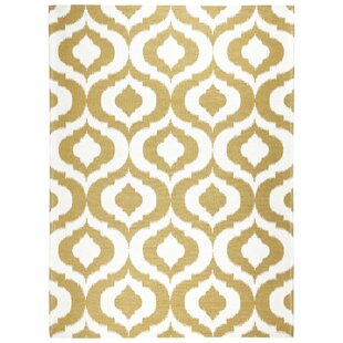 Rio Power Loom Polyester Gold/White Indoor/Outdoor Area Rug