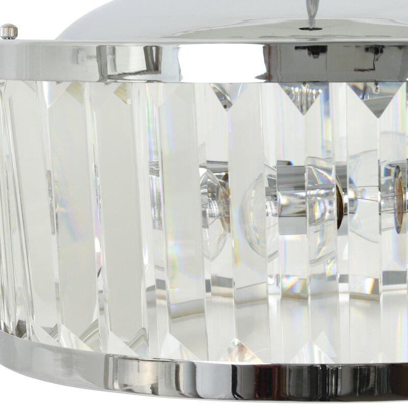 Mercer41 Toups 3 Light Unique Statement Drum Pendant With Crystal Accents Wayfair