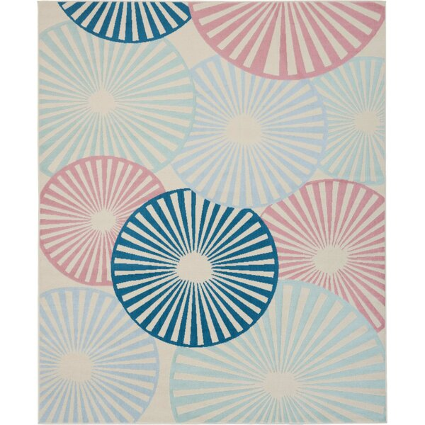 Waverly Baby Carshalt Contemporary Geometric Ivory Blue