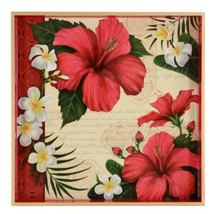 Hibiscus Blossom Square Wooden Tray