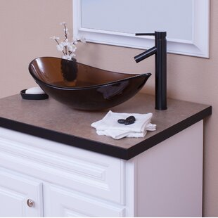 Coupon Glass Oval Vessel Bathroom Sink with Faucet ByTopia