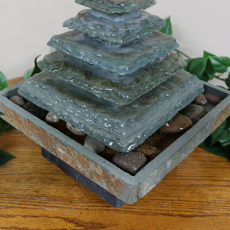 Wurster Natural Stone Slate Pyramid Tabletop Water Fountain