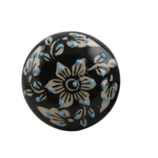 Handpainted Embossed Flat Ceramic Mushroom Knob