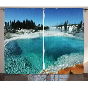 Kiantone Yellowstone Graphic Print and Text Semi-Sheer Rod Pocket Curtain Panels (Set of 2) by Red Barrel Studio