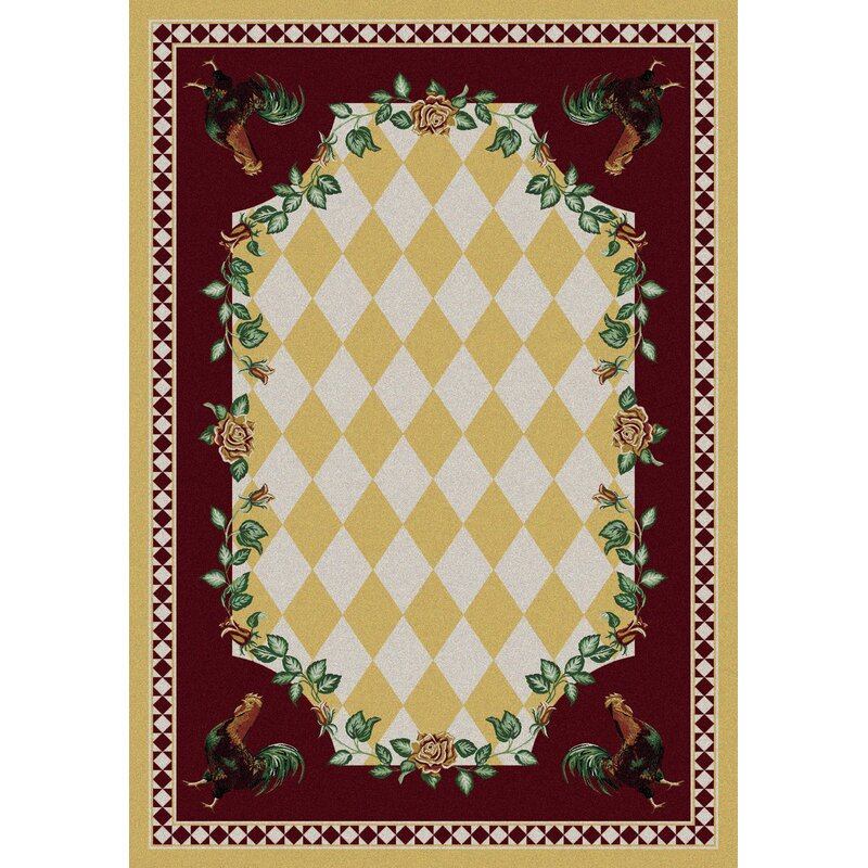 American Dakota Novelty High Country Rooster Yellow Area Rug, Size: Rectangle 8 x 11