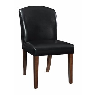 Winston Porter Hofer Genuine Leather Upholstered Dining Chair (Set of 2)