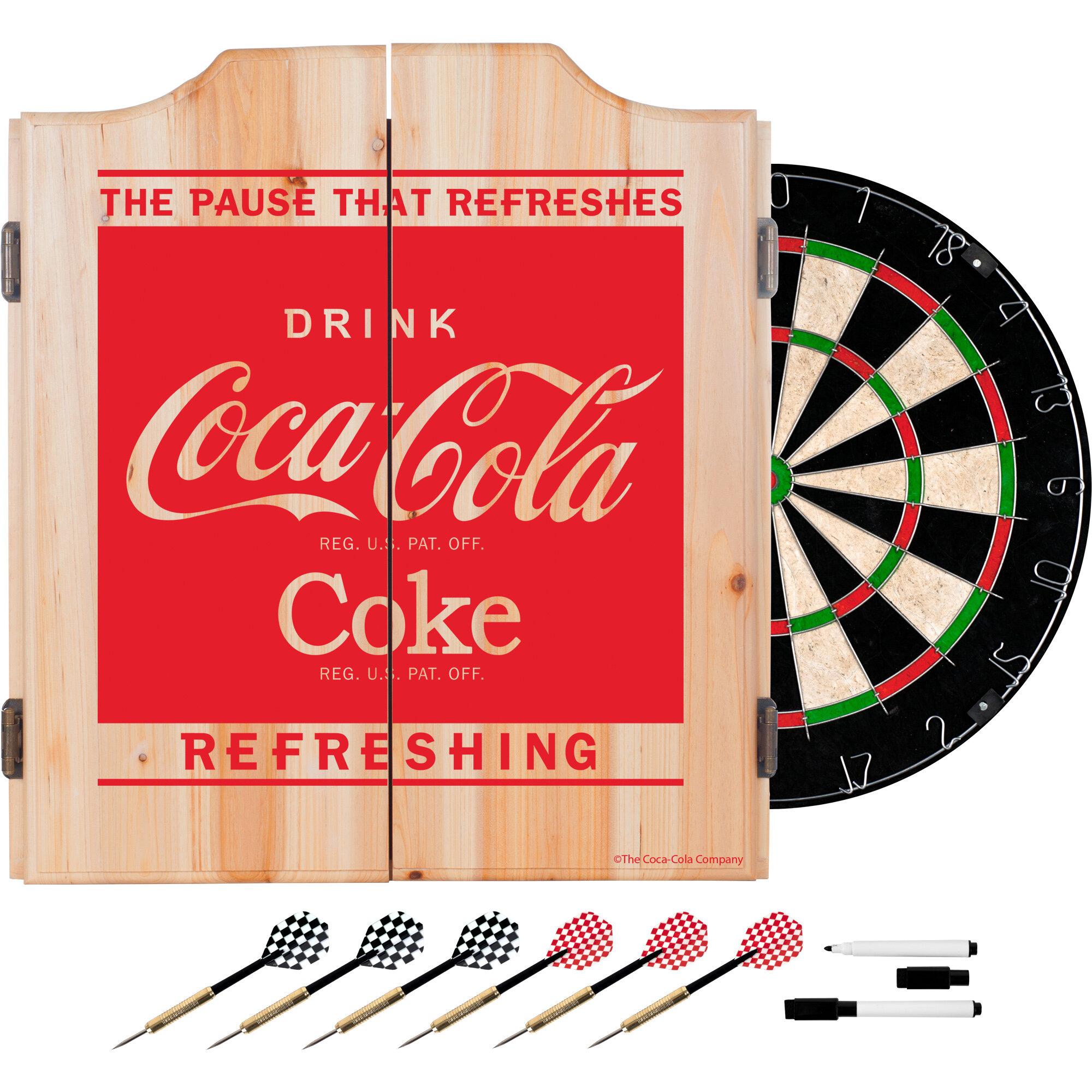 Trademark Global Coca Cola Dartboard And Cabinet Set Wayfair