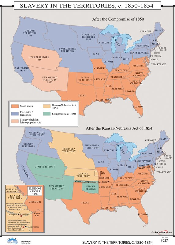 Universal Map US History Wall Maps Slavery In The Territories - Map of slavery in the us