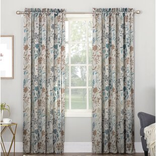 Auburn Nature/Floral Room Darkening Rod Pocket Single Curtain Panel by Sun Zero
