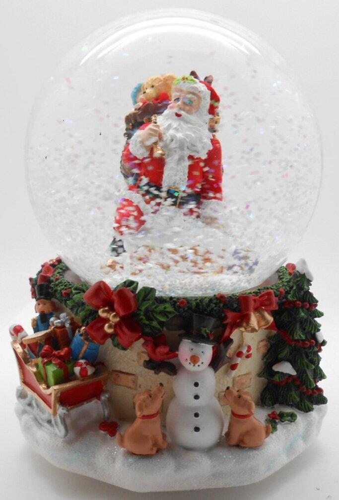The Holiday Aisle Musical Santa Claus Snow Blowing Christmas Snow Globe  d45e4d1501f7