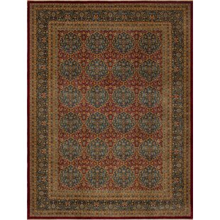 Branner Turkish Hand Knotted Wool Red Blue Area Rug