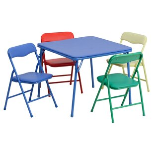 Kids 5 Piece Folding Square Table and Chair Set  sc 1 st  Wayfair & Kids Folding Table And Chairs   Wayfair