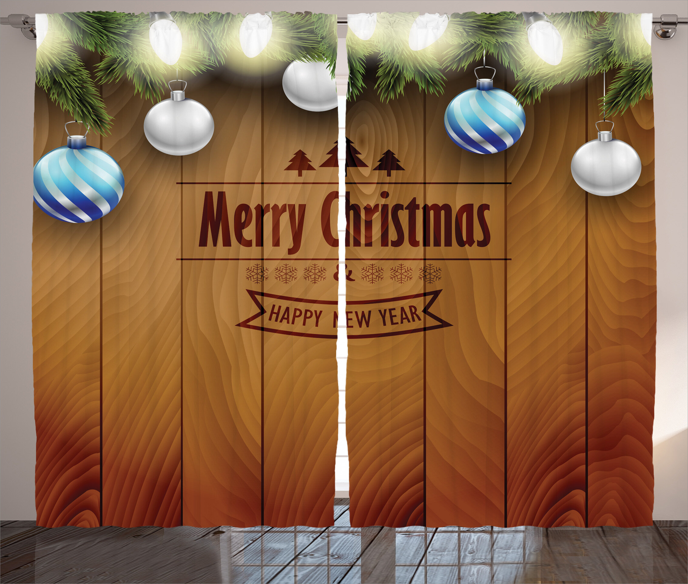 the holiday aisle christmas decorations wooden setting with silver balls fairy lights and pine twigs wishes theme graphic print text semi sheer rod pocket