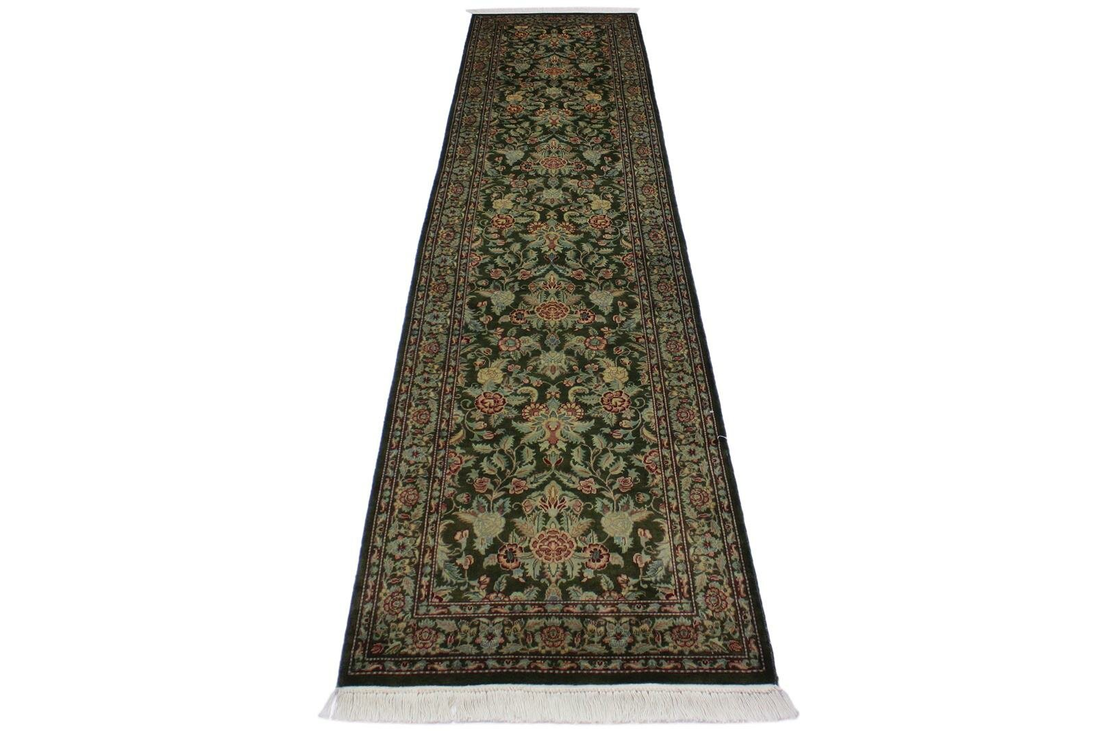 Bloomsbury Market One Of A Kind Obrien Hand Knotted Green Pink Brown 2 6 X 10 6 Runner Wool Area Rug Wayfair