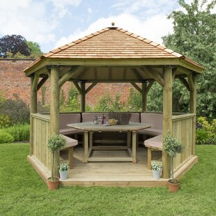 Furnished 4.3m X 3.7m Wooden Gazebo With Cedar Roof By Sol 72 Outdoor