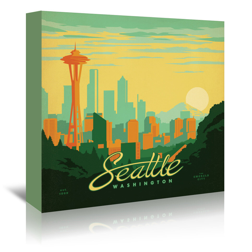 East Urban Home Seattle By Anderson Design Group Vintage Advertisement On Wrapped Canvas Wayfair