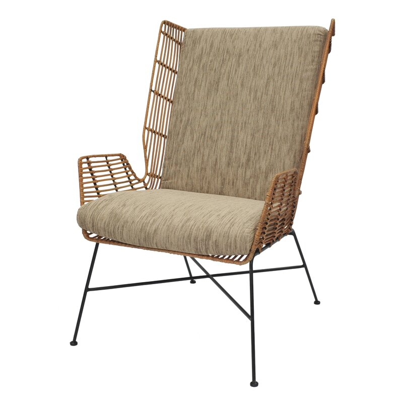 Great Krumm Rattan Wingback Chair