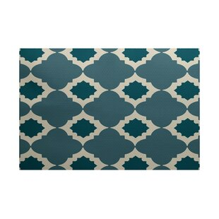 Bevis Geometric Print Hand-Woven Aqua Indoor/Outdoor Area Rug