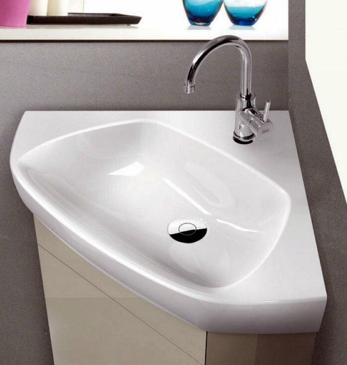 Cerastyle By Nameeks Arda Glossy White Ceramic Corner Bathroom Sink Reviews Wayfair