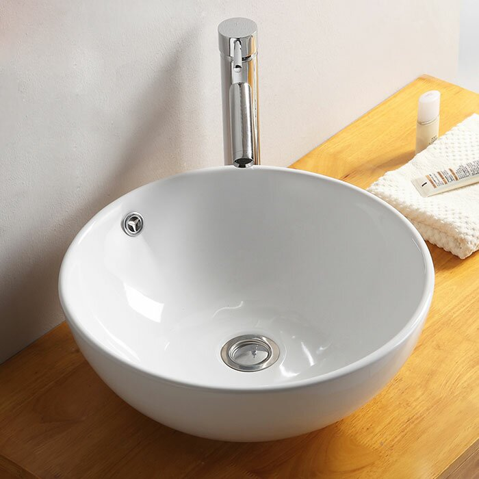 Decoraport Ceramic Circular Vessel Bathroom Sink With Overflow Reviews Wayfair