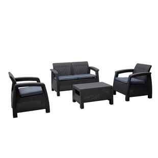 Kacy 4 Seater Rattan Effect Conversation Set By Ebern Designs