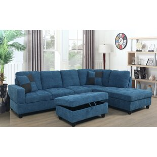 mendoza 103 5 right hand facing sectional with ottoman