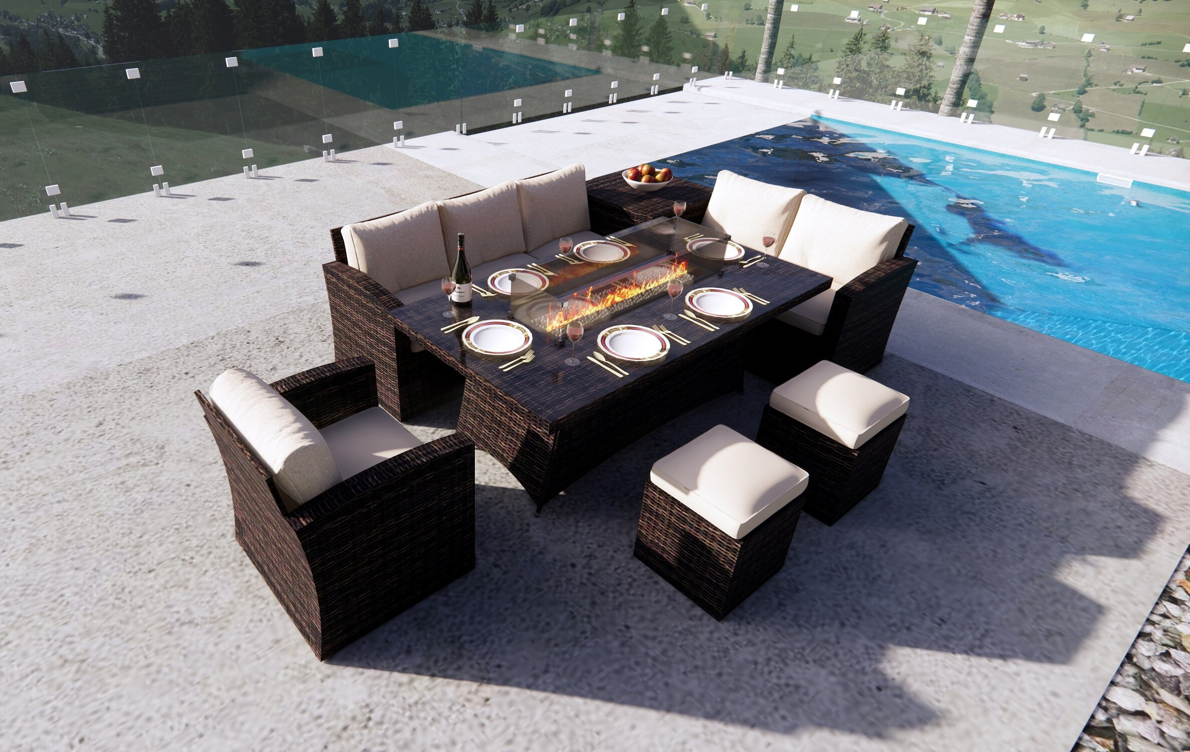 Red Barrel Studio Bozhil Rectangular 6 Person 70 8 Long Dining Set With Cushions Wayfair