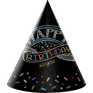 Chalk Birthday Hat Paper Disposable Party Favor (Set of 24)