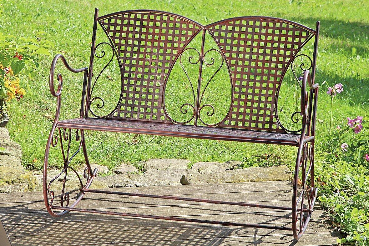 home etc 2 sitzer gartenbank rocking yvette aus eisen bewertungen. Black Bedroom Furniture Sets. Home Design Ideas