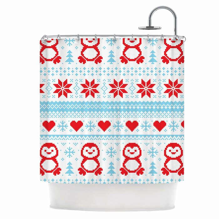 Pixel Penguin Holiday Shower Curtain