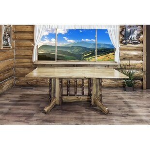 Tustin Double Pedestal Solid Wood Dining Table Loon Peak
