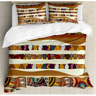 Tribal Traditional African Folk with Cultural Featured Trippy Icons Boho Abstract Design Duvet Cover Set