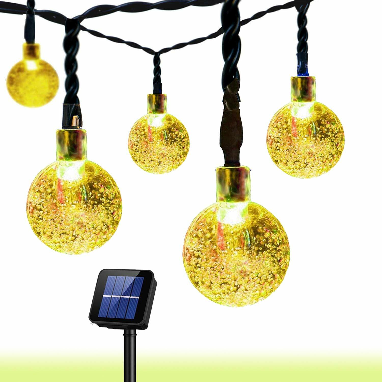Ebern Designs Loring 19 7 Outdoor Solar Powered 30 Bulb Globe String Light Reviews Wayfair