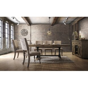 One Allium Way Dasher 7-Piece Removable Leaf Table with Nail Head Chair Dining Set, Driftwood