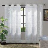 Goswin Embroidered Trellis Geometric Semi-Sheer Grommet Curtain Panels (Set of 2)