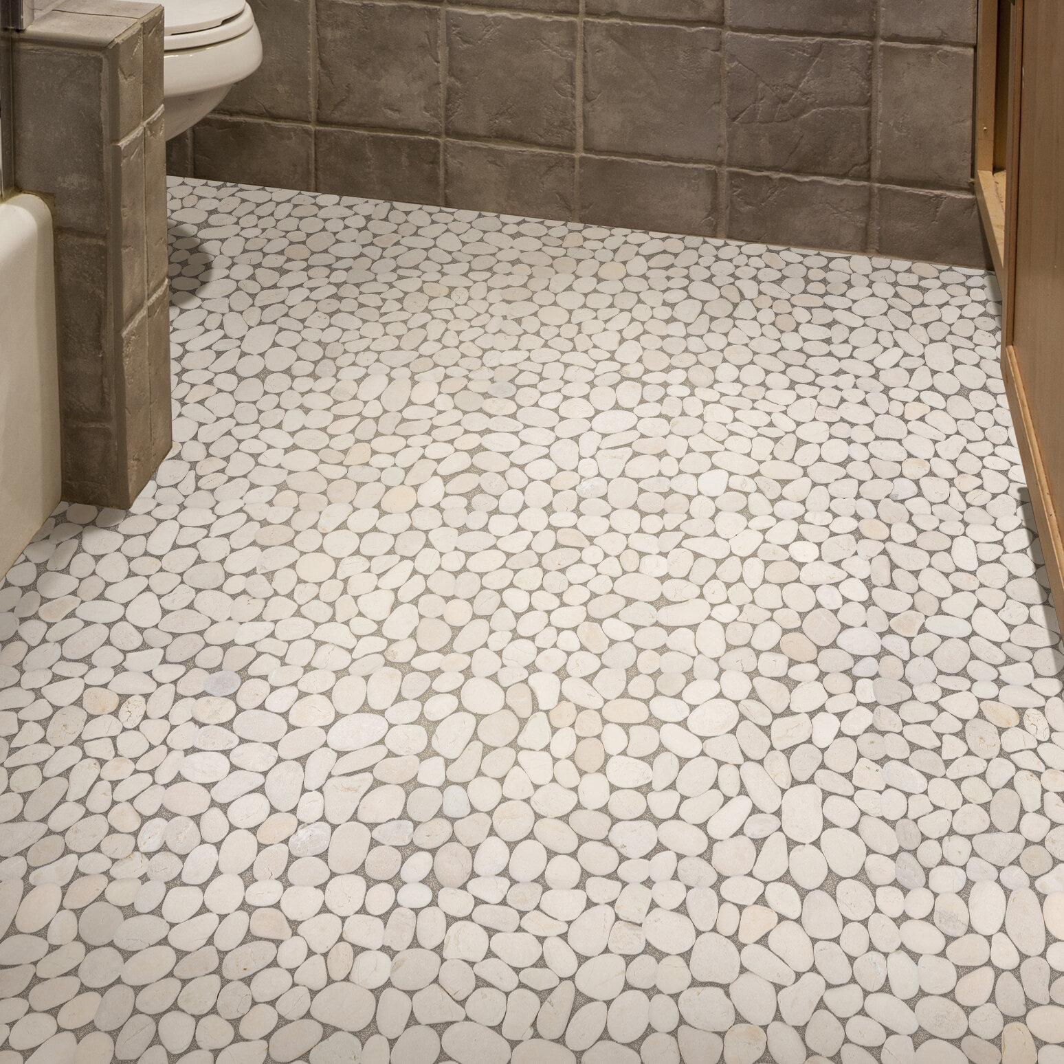 Pebble tile random size natural stone pebble tile in white reviews wayfair