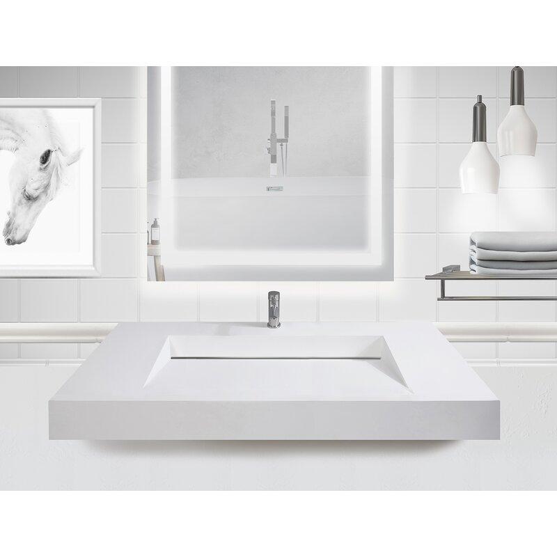 Orren Ellis Boyter Stone Rectangular Wall Mount Bathroom Sink 48 L X 19 W Wayfair