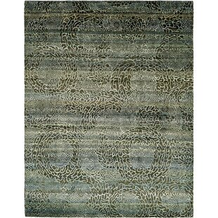 One-of-a-Kind Easton Hand-Knotted 7'7 x 9'10 Silk Black/Gray Area Rug Isabelline