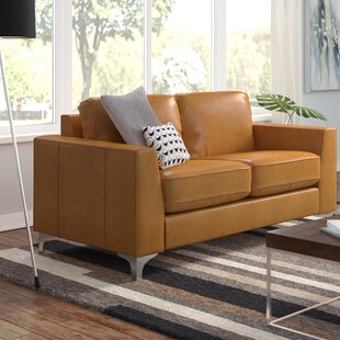 Shupe Leather Loveseat by Mercury Row
