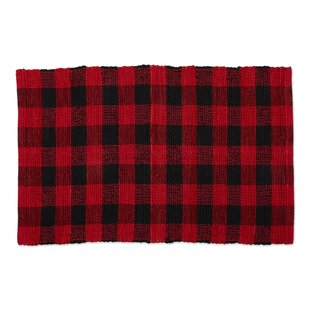 Weimar Buffalo Check Flatweave Cotton Red Area Rug