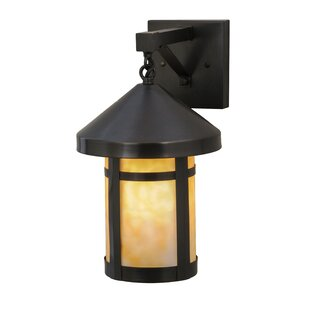 Online Reviews Greenbriar Oak 1-Light Outdoor Wall Lantern By Meyda Tiffany