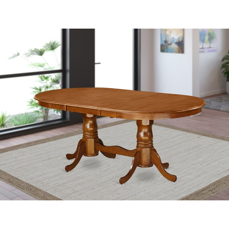 August Grove Pilcher Extendable Solid Wood Dining Table Reviews Wayfair