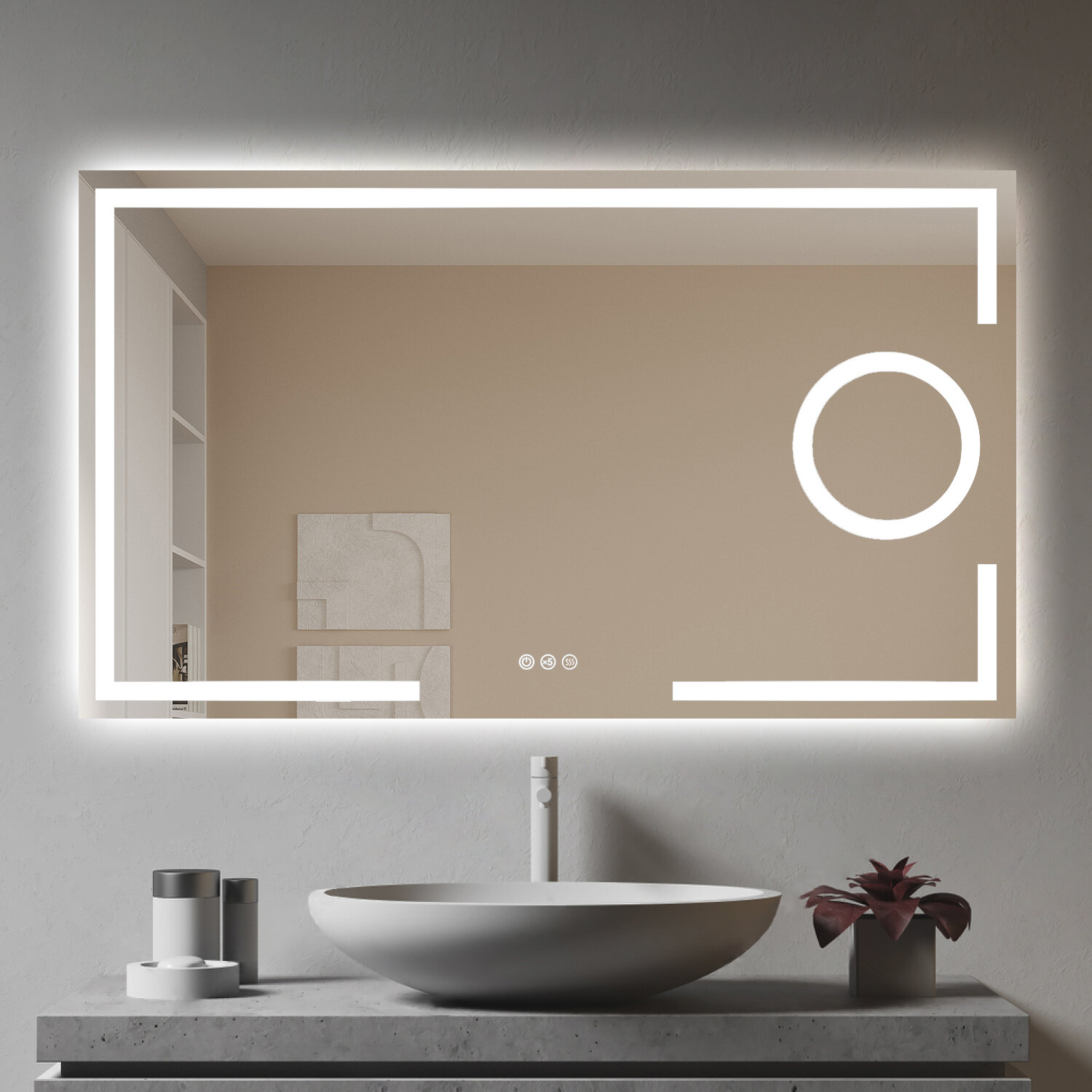 Ivy Bronx Led Lighted Bathroom Wall Mounted Mirror Anti Fog Dimmable Makeup Vanity Mirror With 5x Magnifier Wayfair Ca