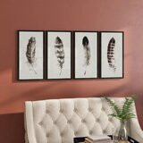 'Englund 'Black & White Framed Feather Wall Decor' - 4 Piece Picture Frame Print Set on Wood