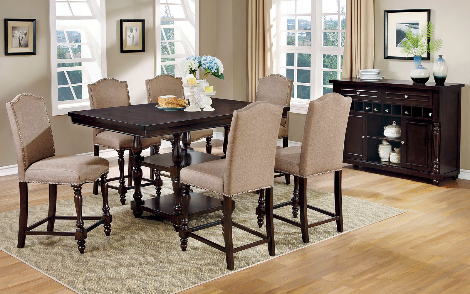 Incroyable Hiram 7 Piece Counter Height Dining Set